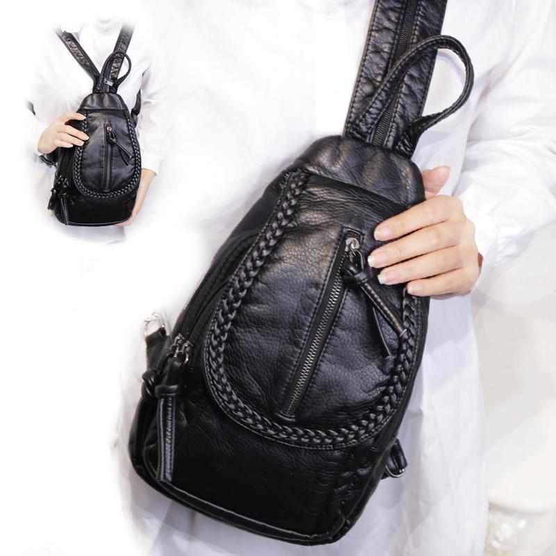 软皮双肩包女潮2021春季新款韩版百搭休闲小背包女士胸包迷你包包