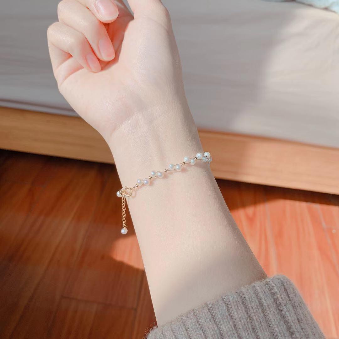 热销0件五折促销ins简约天然珍珠小米珠编织手链