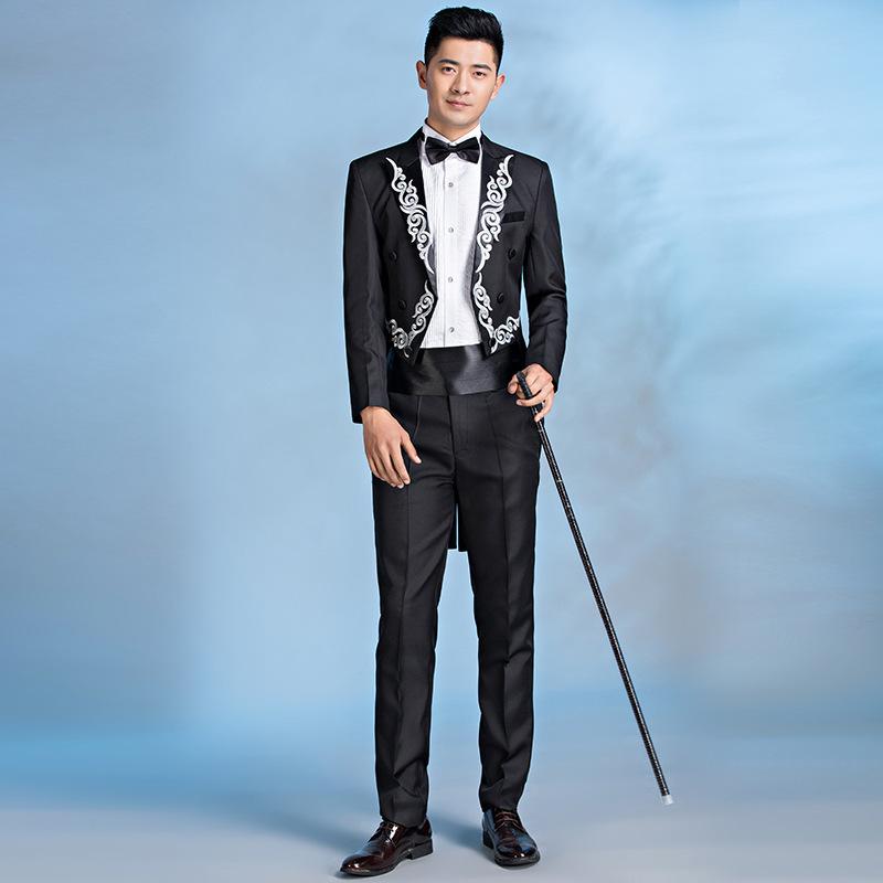 2021新款男士演出服套装绣花燕尾服合唱团指挥宴会主持人歌手礼服