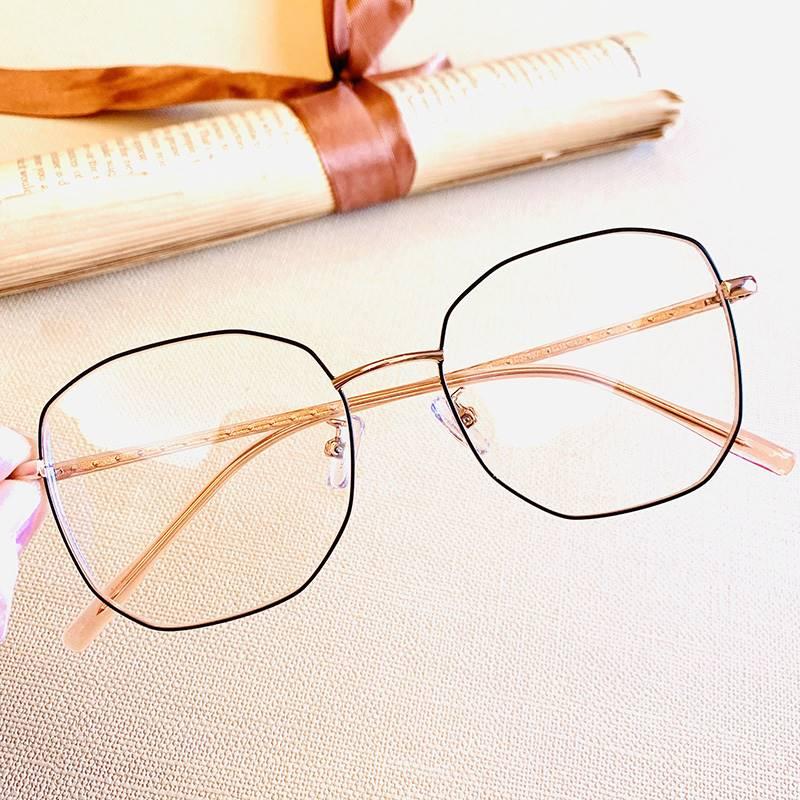 多边形大框老近花镜黑框高档远两高清老光眼镜框男超轻女用防蓝光
