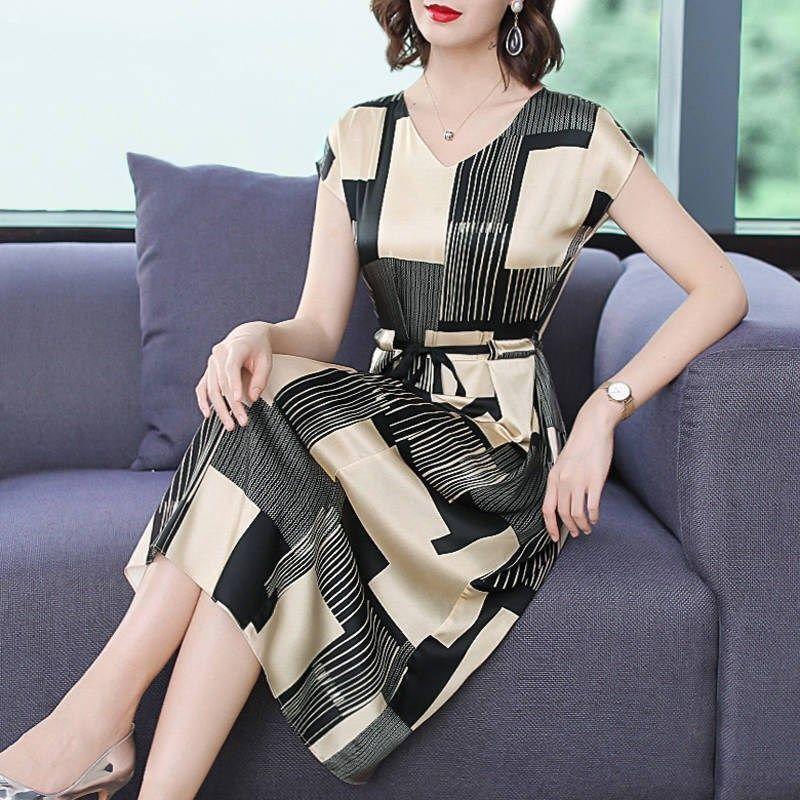 2021新款气质高档连衣裙女夏V领短袖大码女装收腰显瘦中长款裙子