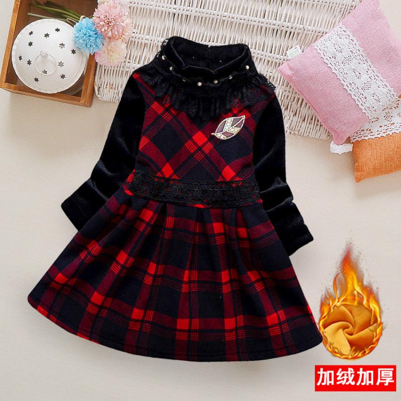 (用10元券)女童秋冬季高领连衣裙加绒加厚格子童裙女孩洋气公主裙保暖打底裙