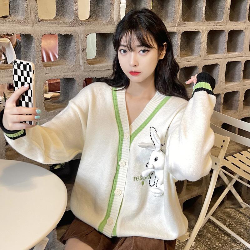 白色v领针织开衫女秋2021年新款学院风韩版宽松百搭短款毛衣外套