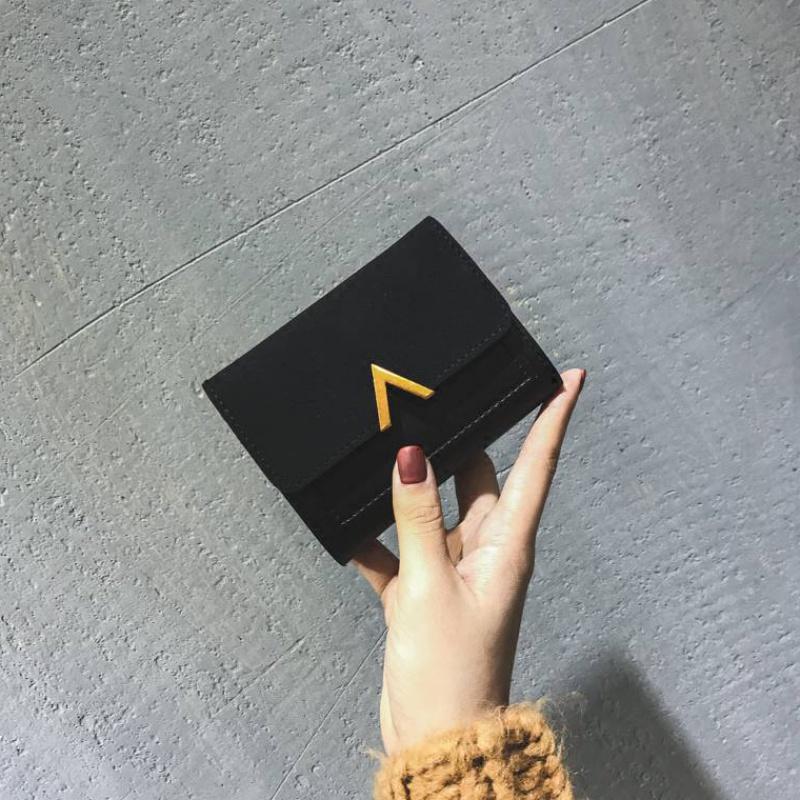 新款女短款三折韩版潮小众小钱包学生可爱迷你森系零钱包薄卡包女