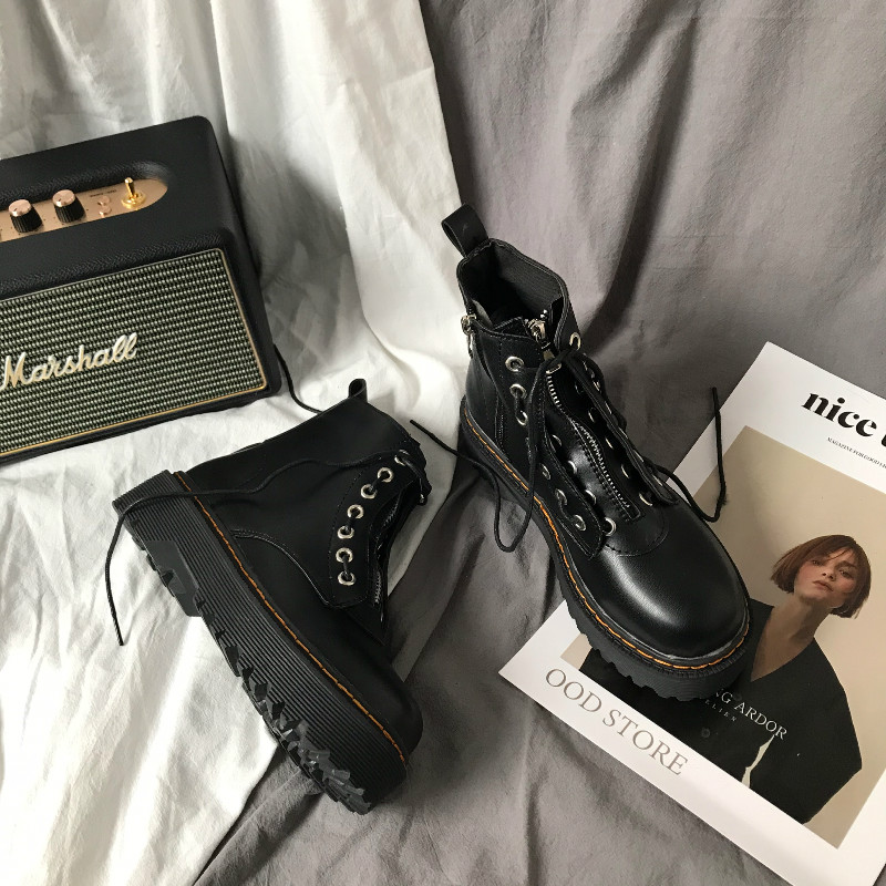 Korean version of INS retro British Wind college high-end thick bottom Martin boots, muffin, zipper, lace up fashion boots, childrens leather boots
