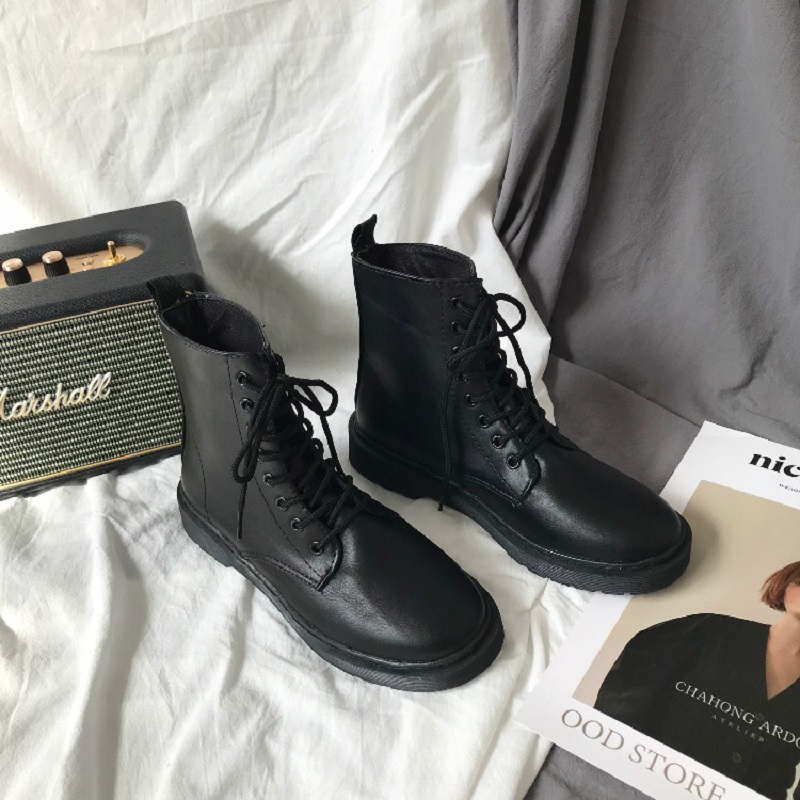 Korean Vintage Martin boots Pu British style Plush chic students all-round flat heel female ins black motorcycle boots
