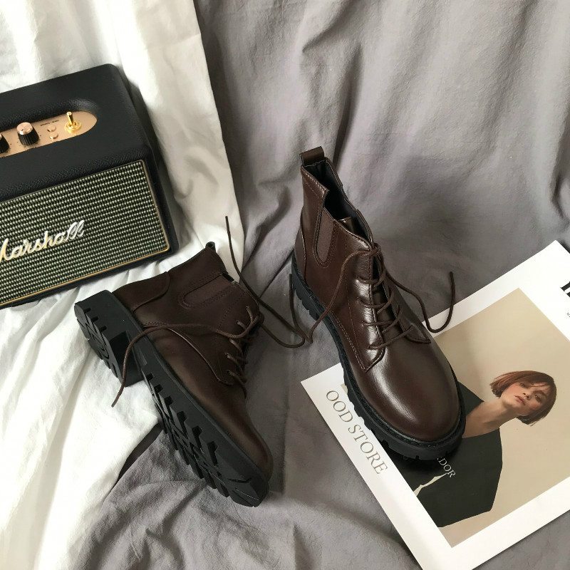 Korean version of ulzzang Vintage Lace Up Martin boots flat heel versatile students Pu British style ins fashion short boots women autumn and winter
