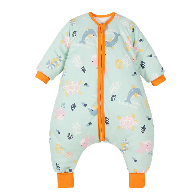 Baby sleeping bag spring and autumn winter thin pajamas four seasons universal baby thickened childrens middle and large childrens split leg anti kick quilt
