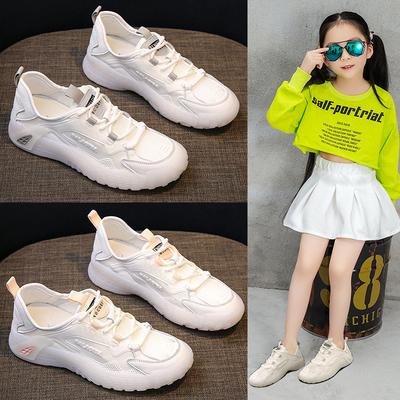儿童运动鞋女春款夏季2021新款小白鞋女童网鞋中大童透气网面男童
