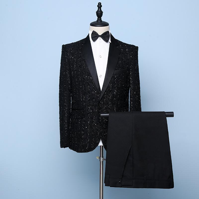 Four seasons mens suit business suit single breasted no slit slim casual dress professional wedding suit