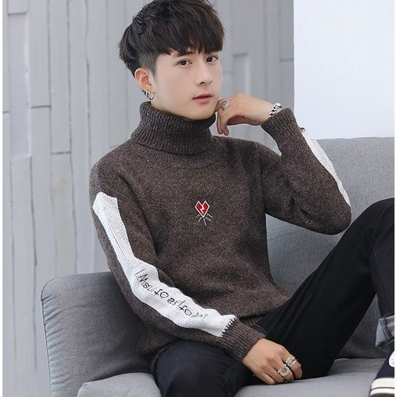 Reversible turtleneck sweater male student winter thickened embroidered chic Korean sweater knitted jacket mens sweater