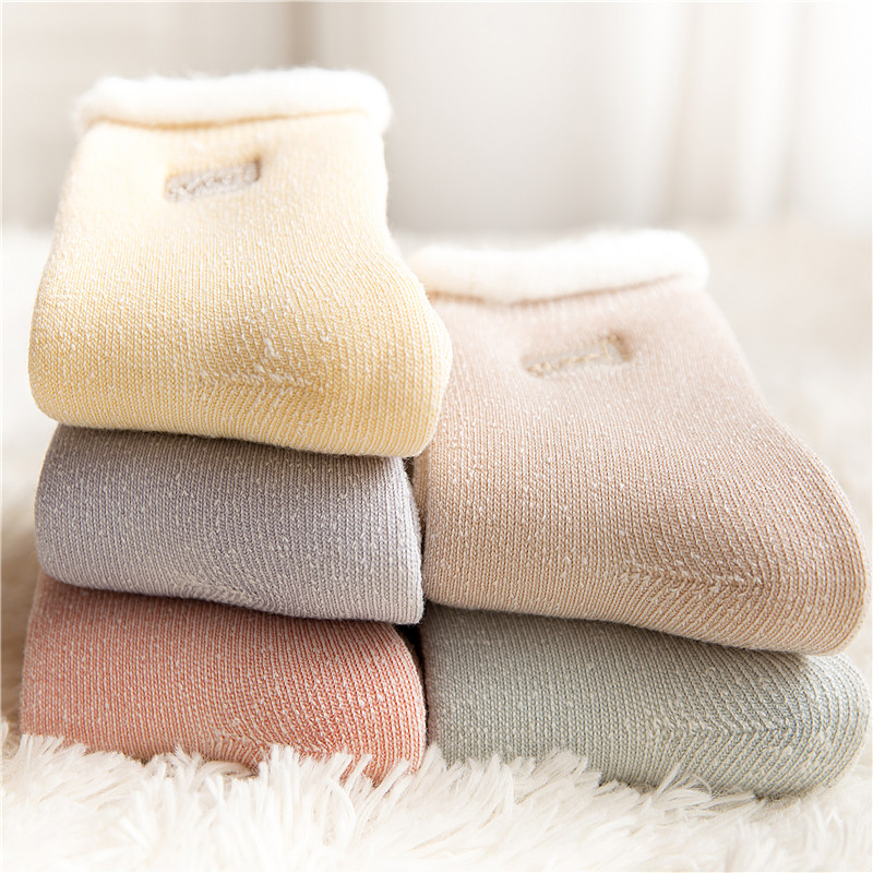 Panax silk stockings thick stockings childrens winter Plush thickened warm sleep towel stockings womens pure cotton super thick snow in winter