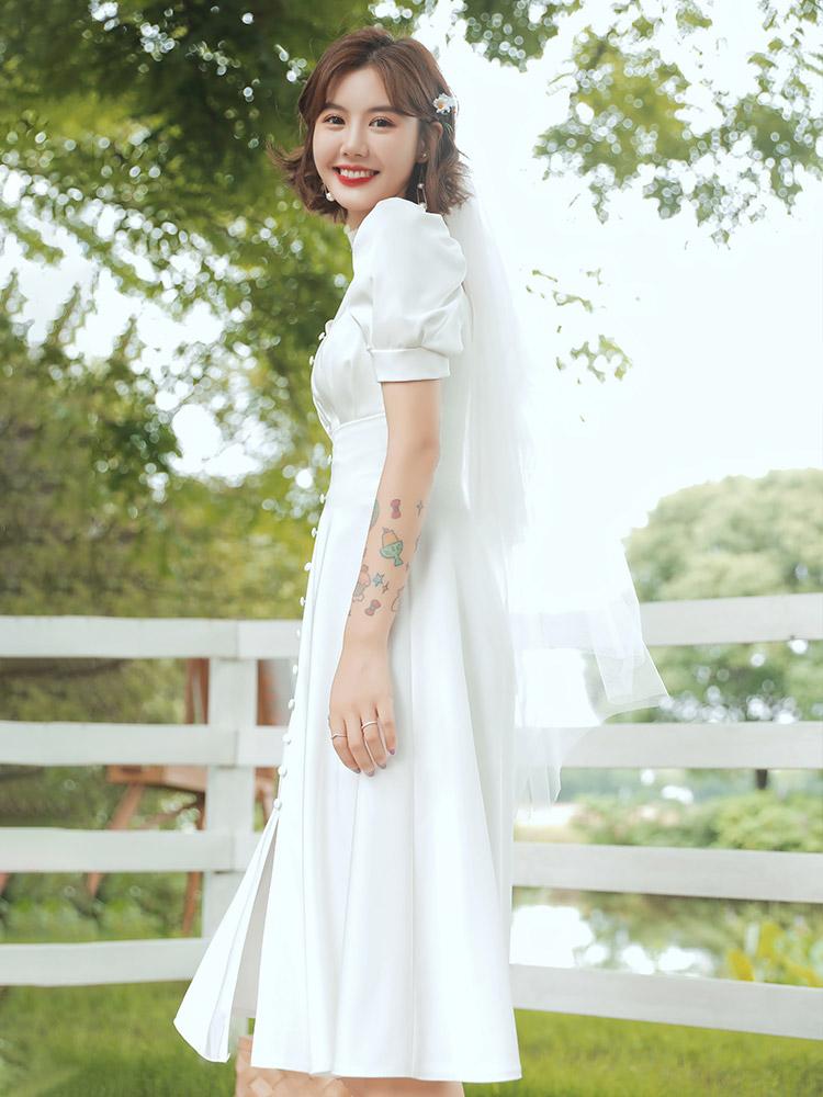 法式轻婚纱缎面简约日常平时可穿旅拍白色连衣裙领证登记小礼服女