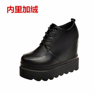 秋冬新款黑色皮鞋女超厚底内增高跟12cm松糕坡跟韩版百搭休闲女鞋