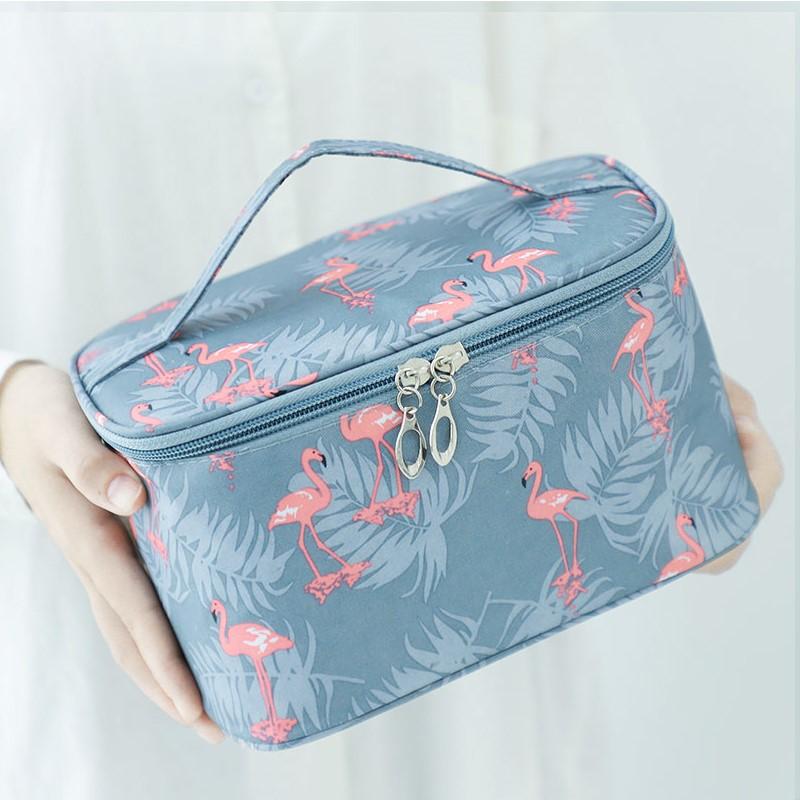 小雏菊化妆包便携韩国简约大容量化妆袋箱少女心洗漱品收纳盒ins
