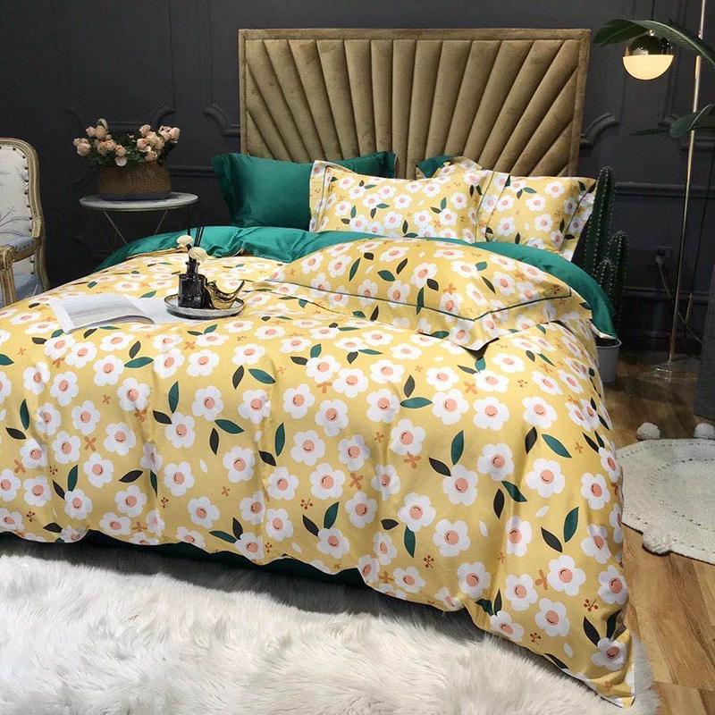 高档北欧纯棉60支贡缎长绒棉四件套全棉小清新花卉被套床单1.5米