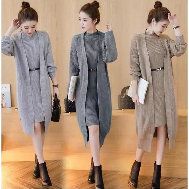 Sweater skirt fashion two piece suit autumn and winter sweater vest skirt 2019 new loose knit jacket