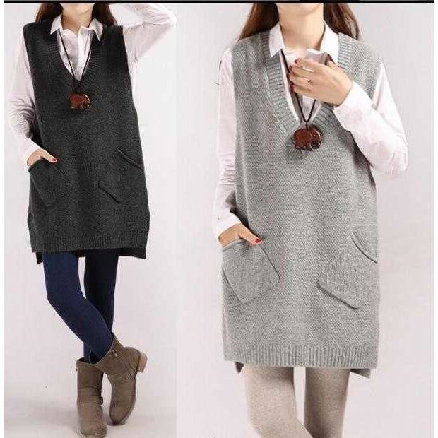 Limited to 200 pieces of spring and autumn V-neck Korean version medium and long wool dress, loose knit bottomed dress, vest, Ma Jianv