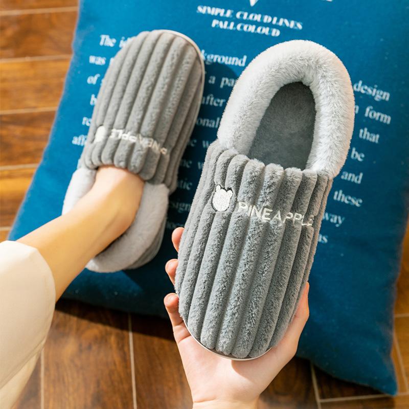 2021冬季新款棉拖鞋女包跟保暖防滑家用室内毛绒情侣家居秋冬棉拖