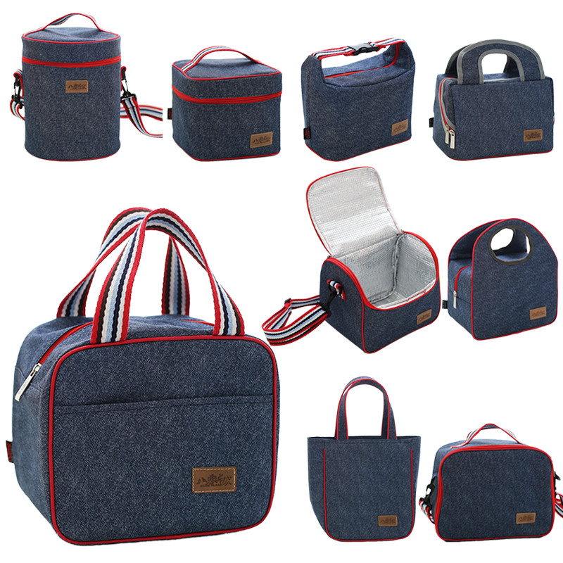 Lunch box bag waterproof hand bag thermal insulation lunch bag aluminum foil round canvas bag for men and women