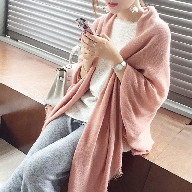 Room dress warm version must scarf Wool Shawl with pink autumn and winter air conditioning