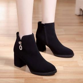 新款百搭女靴子2019黑色秋冬季女士短靴磨砂靴时装粗跟加绒高跟鞋