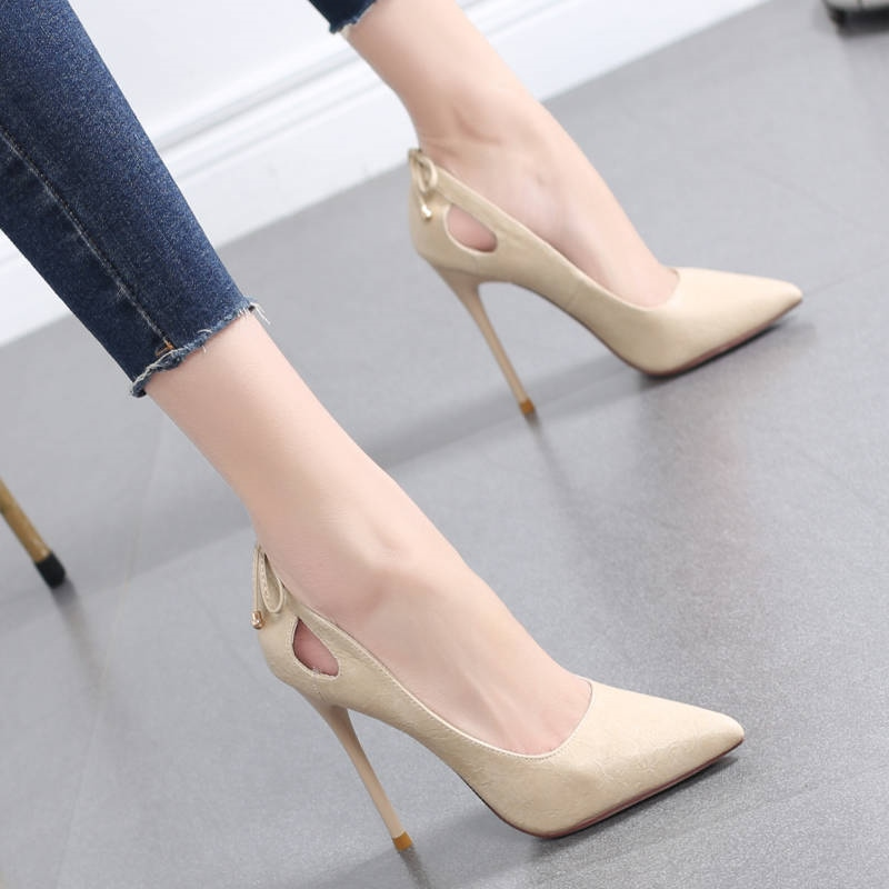 Womens shoes autumn 2020 new pointed bow fashion versatile high-heeled shoes womens slim heels sexy hollow out shallow mouth single shoes