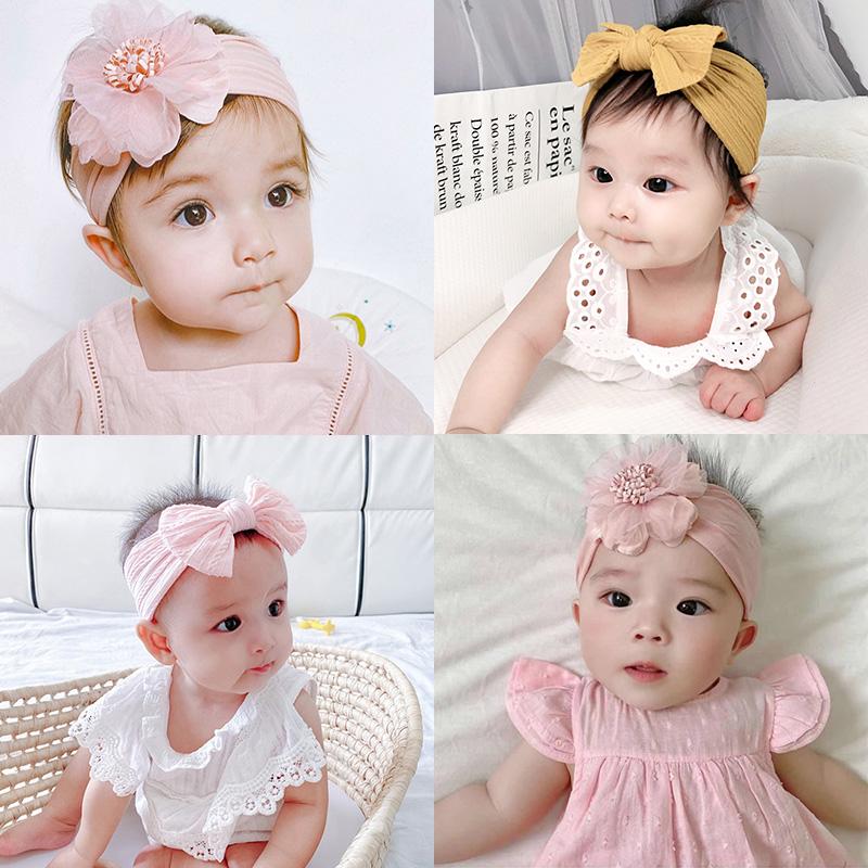婴儿蝴蝶结发带韩国女宝宝花朵公主头饰新生儿满月护囟门头带柔软
