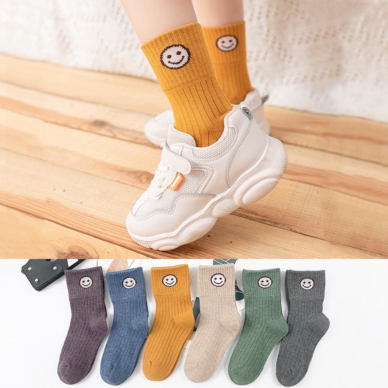 儿童袜子男童春秋冬纯棉女童中筒袜婴儿袜宝宝大童袜子笑脸可爱袜