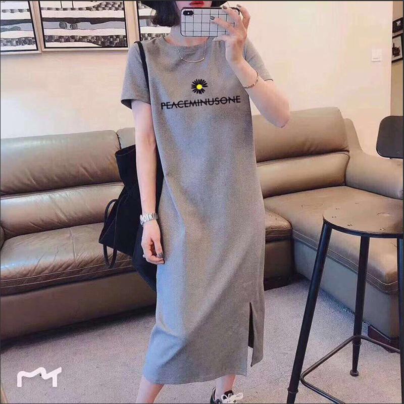 2020夏季新款短袖开叉连衣裙韩版大码中长款时尚过膝T恤裙子女ins