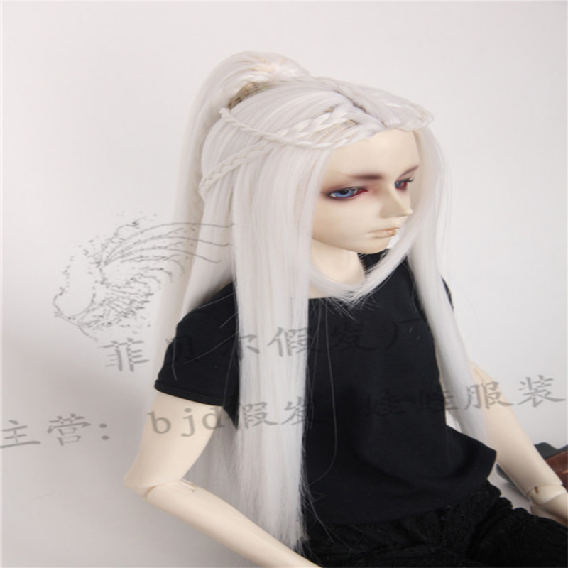 BJD baby wig single ponytail 3 points SD doll middle split ancient Wig White Silver Gray Dark Purple