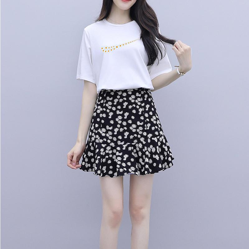 2021夏装新款纯棉圆领短袖T恤雏菊碎花裙半身短裙减龄显瘦两件套