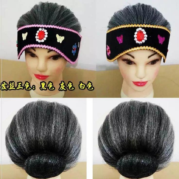 Headflower Yangko role show with the old lady wig hair set headgear funny headband playing dress