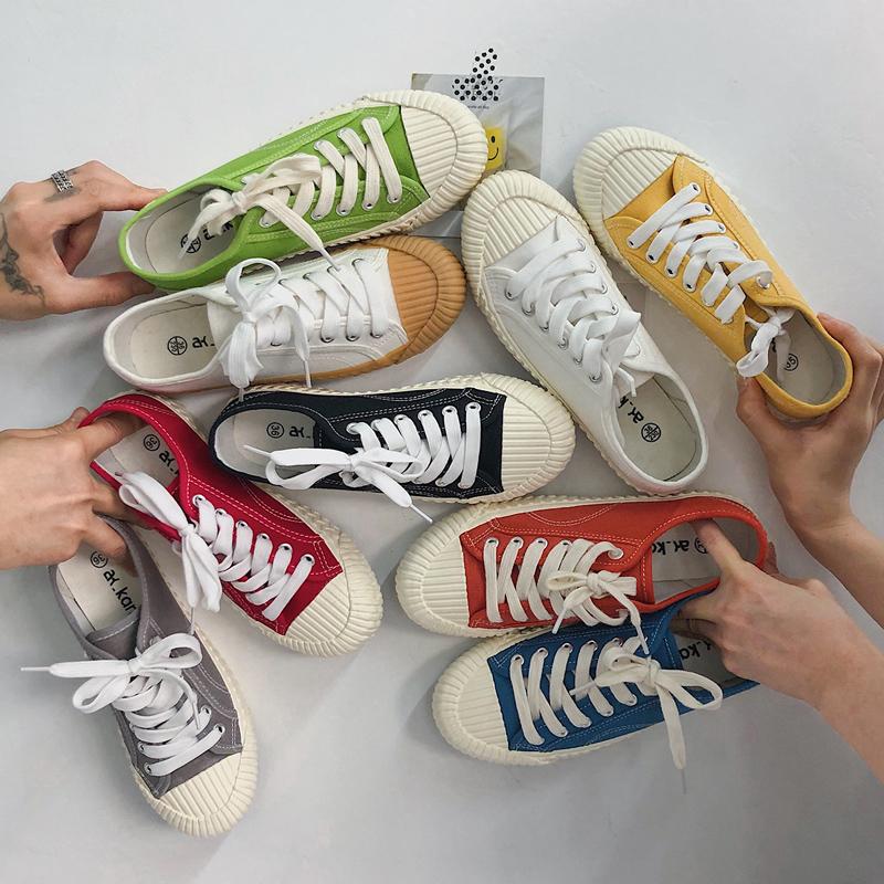 宣芭2021春季新款韩国饼干鞋女焦糖色学生网红休闲复古帆布鞋女