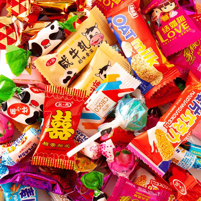 混合什锦糖果汁水果软糖结婚礼喜糖棒棒糖散装多口味5斤礼盒装