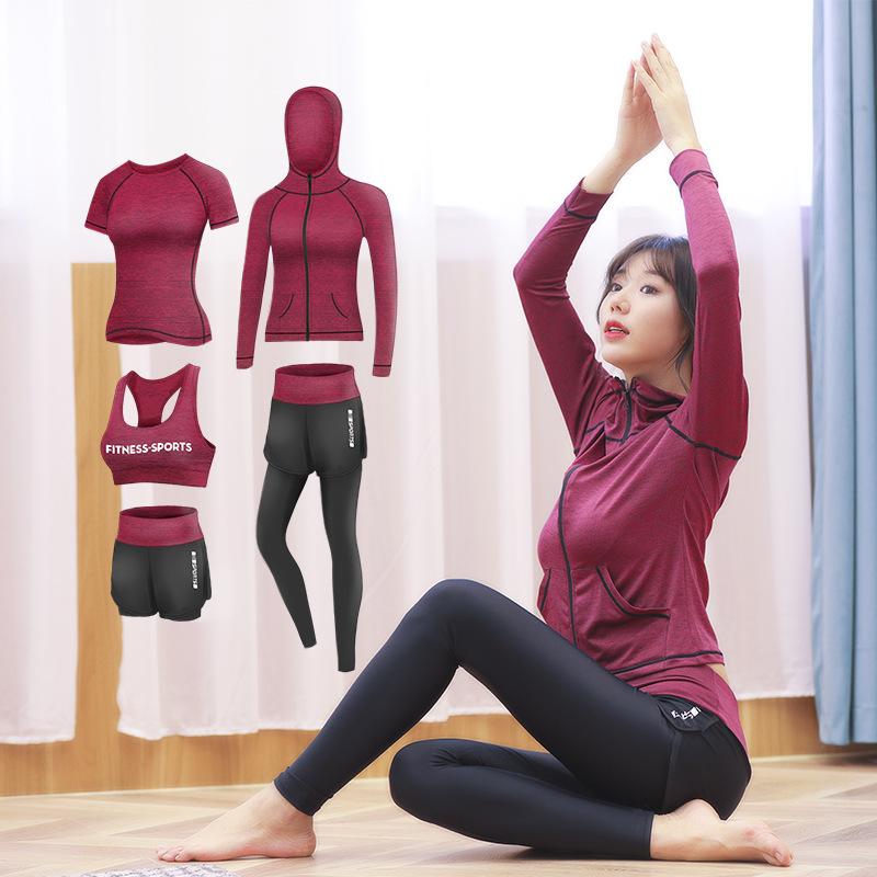 勋伯格瑜伽服女套装2020新款春秋跑步健身房大码运动五件套YH图片