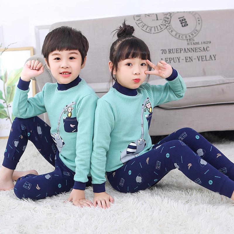 勋伯格儿童装秋冬装内穿套装2019新款中大童洋气秋冬款加绒加厚款