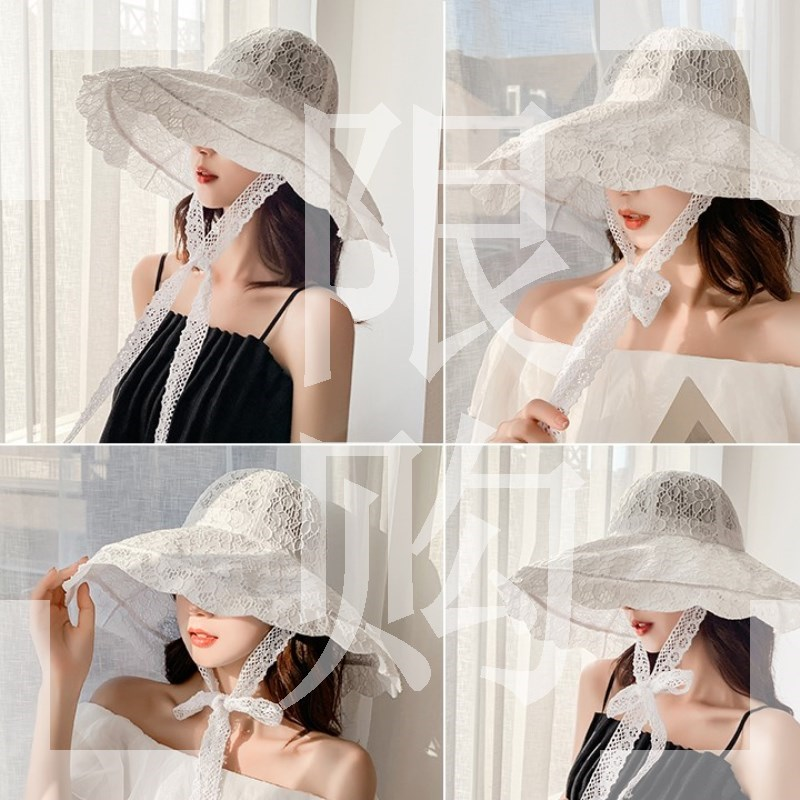 White Mesh Hat Beach Hat Womens big hat brim fairy large area Sun Hat Womens hat foreign style beautiful