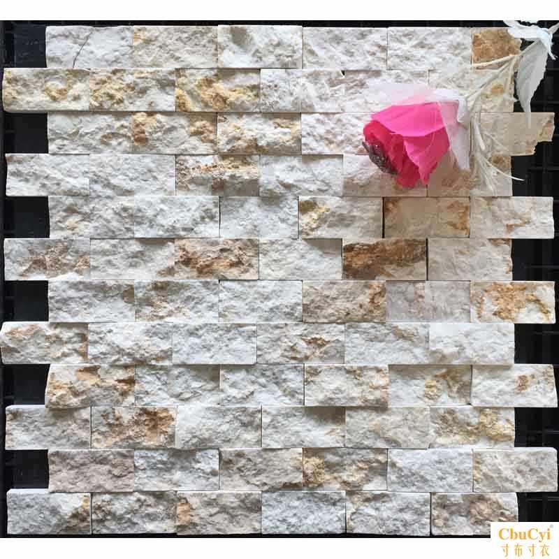 金碧断面马赛克瓷砖天然大理石材米黄色3d立体文化石电视背景墙11-22新券