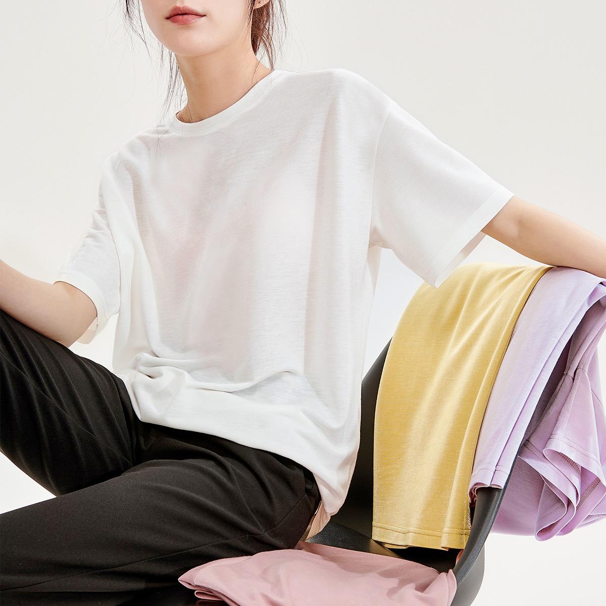 乐刻2020夏装新款女式t恤时尚金银丝短袖t恤领口防变形多色短袖