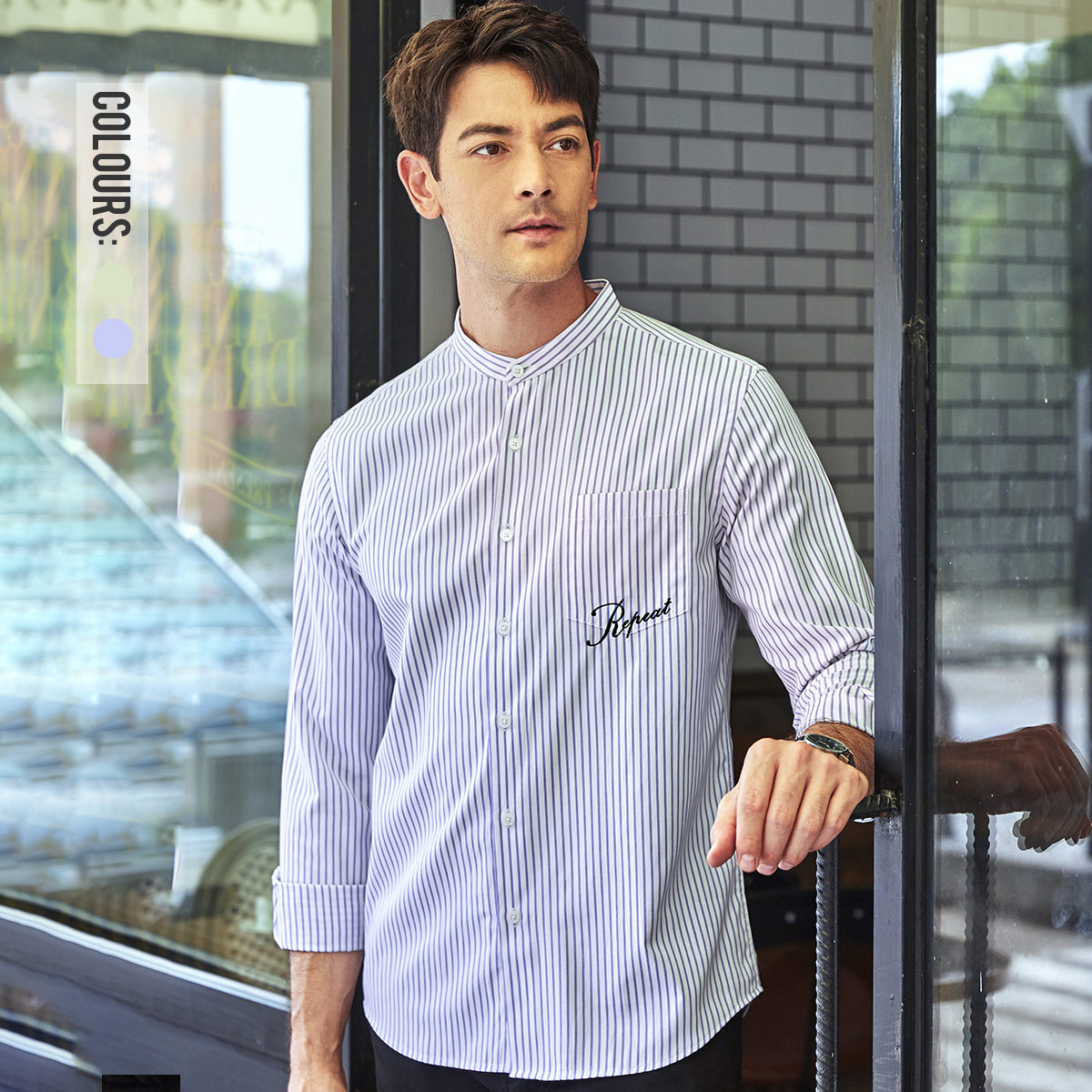 Le engraving stripe long sleeve shirt spring 2020 new fashion embroidery loose comfortable casual low collar shirt