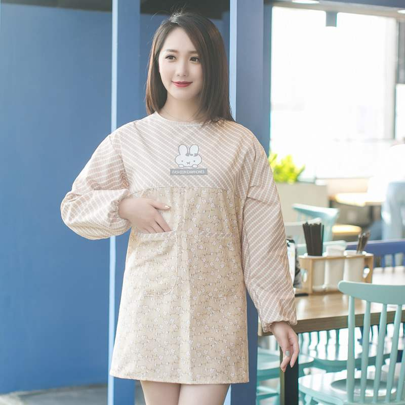 Kitchen long sleeve apron Korean fashion home Japanese women lovely home pure cotton simple 2019 new coverlet
