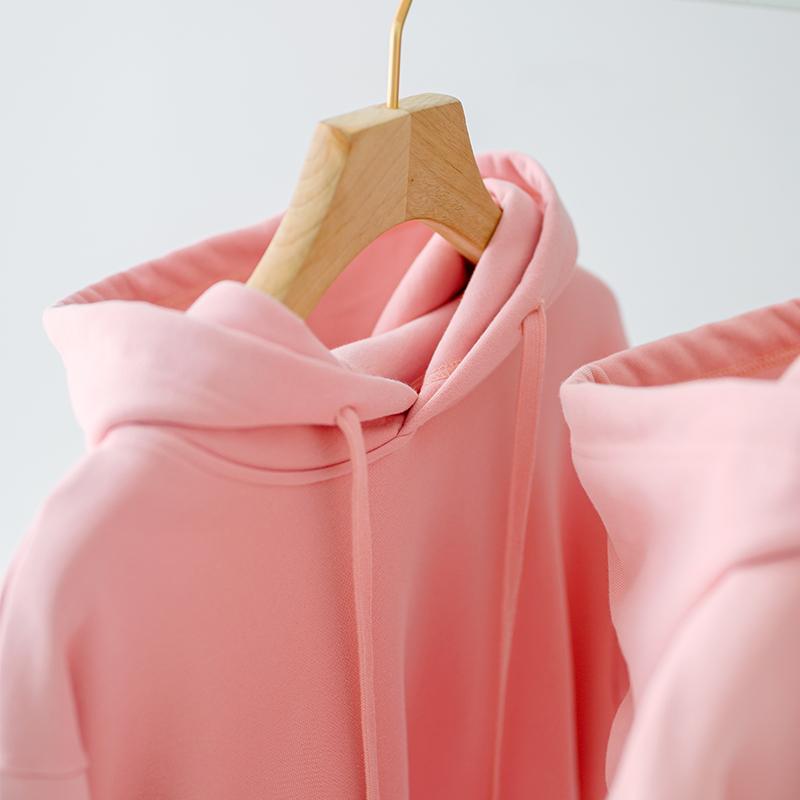 Sweater 2021 autumn winter womens new 460g cherry powder heavy Plush thickened loose hooded sweatshirt couples wear