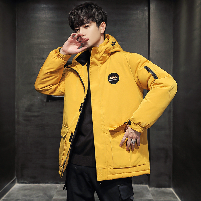 Down jacket 2020 new men's trendy brand short thick white duck down warm tooling handsome jacket for men in winter