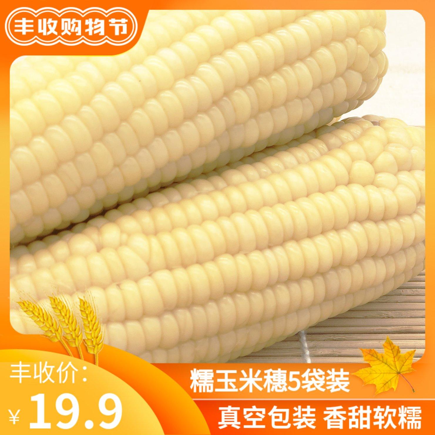 陕北村新鲜白糯5支真空即食粘玉米