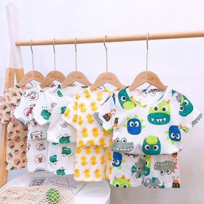 宝宝短袖套装纯棉婴幼儿卡通男童家居服女小童休闲外出儿童两件套