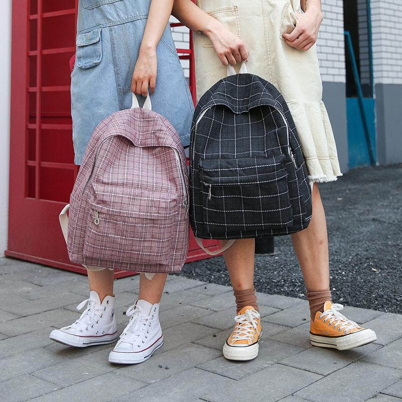 19 double shoulder bag womens new British Garden lattice campus versatile backpack mens large capacity schoolbag