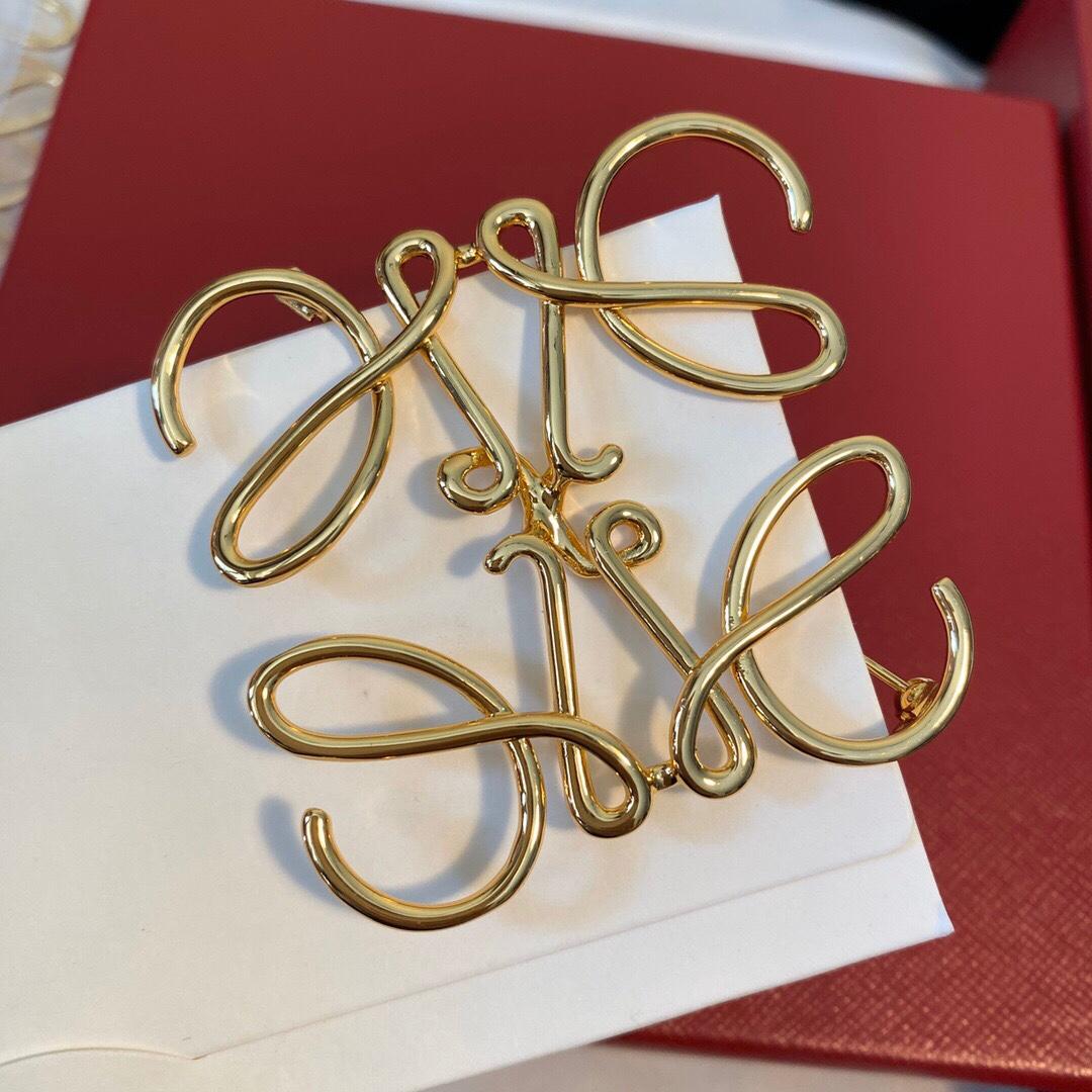 fancing 设计款简约抽象几何图案黄铜镀金lo造型胸针ewe