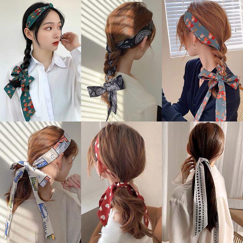 2021 new braided scarves, ladies hair band, net Red Bow Headband, retro Hong Kong Style ribbon, Korean hair accessories