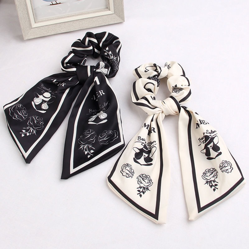 New small fragrance adult temperament printed silk scarf hairband Korean version net red bow ribbon large intestine circle simple style